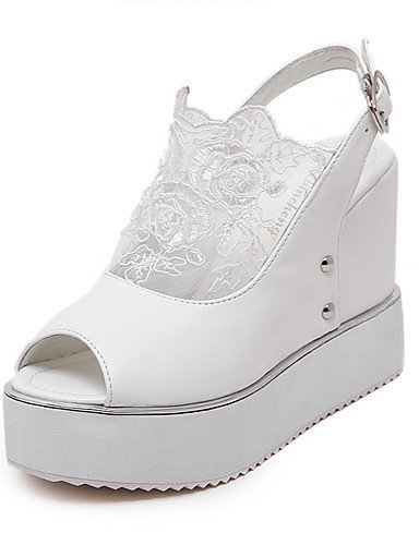 ShangYi Womens Shoes Leatherette Wedge Heel Peep Toe Heels Dress Black / White Black