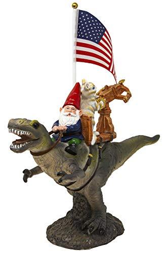 Funny Guy Mugs Garden Gnome Statue – T-Rex Fellowship – Indoor/Outdoor Garden Gnome Sculpture for Patio, Yard or Lawn