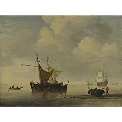 Oil Painting 'Studio Of Willem Van De Velde Calm Two Dutch Vessels', 30 x 40 inch / 76 x 102 cm , on High Definition HD canvas prints is for Gifts And Basement, Hallway And Kitchen Decoration, graphs
