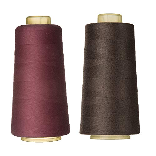 100% Spun Polyester Sewing Thread 2 Pieces of 3000 Yard Overlock Connecting Thread for DIY,Handwork,Serger,Overlock,Single Needle,Sewing Machine