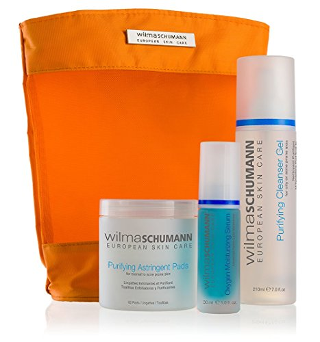 Moisturizing Oxygen (WILMA SCHUMANN Oily and Acne Prone Skin Kit - Purifying Facial Cleanser Gel, Oxygen Moisturizing Serum, Purifying Astringent Pads)