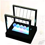 LONGZUYS Newton's Cradle - Newton Swing Balance Ball LED Light Up Kinetic Energy Home Office Science Toys Home Decor, Frosted Glass + Fishing Line + Plastic Base (1 x Newtons Cradle Black)