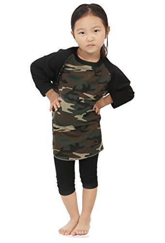 Hat and Beyond Kids Raglan 3/4 Sleeves Baseball T Shirts Baby (S (5-6Yrs 6T), 5ks01_Camouflage/Black)