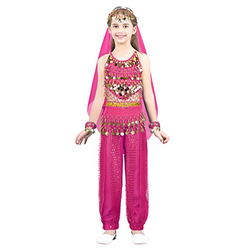 Alvivi Girls India Belly Dance Costumes Arabian Princess Dress up Outfit Halter Top Harem Pants Hip Scarf 6 Pcs Set Rose Red 4-5]()