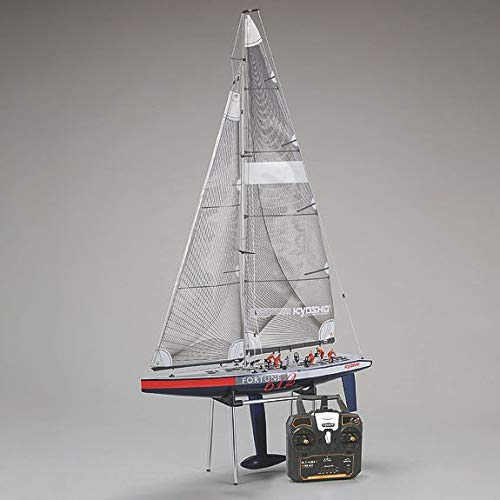 (Kyosho 40042S-B Fortune 612 III Ready Set RC Sailboat Vehicle, 612 mm, Blue/Red/White)