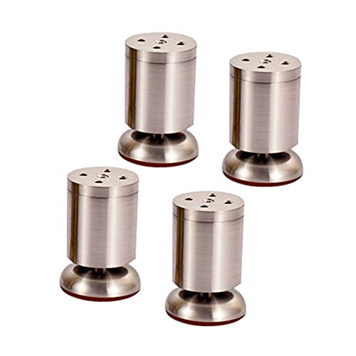 DEPLK Metal Furniture Legs X4, Adjustable Cylindrical Support Sofa Legs, DIY Kitchen Feet/Tv Table/Coffee Table/Bathroom Cabinet/Bed Accessories, Screws and Protective Feet