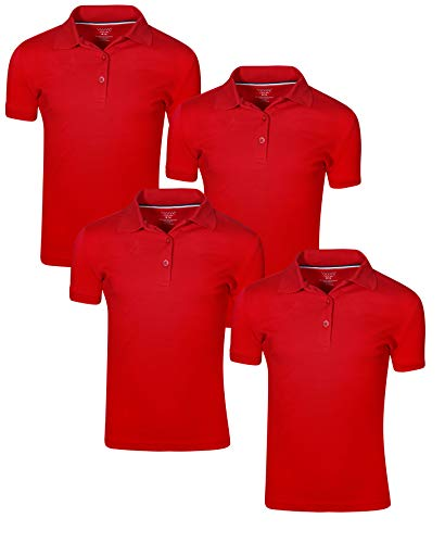 French Toast Girl\'s Uniform Polo Short Sleeve Interlock (4 Pack) (X-Large - 14/16, Red)'