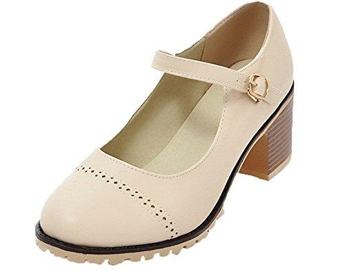 Beige Fibbia Ballet Medio FBUIDD006811 Pelle Flats AllhqFashion Donna Solid Tacco APqxTTSw