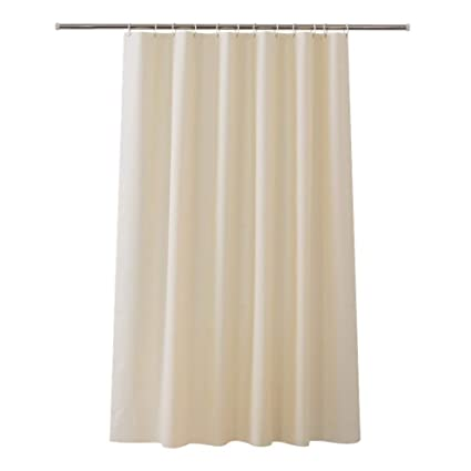 JYJSYM Shower Curtain Translucent Plain Mildew Antibacterial Beige Hotel