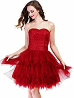 Fashion Plaza Mini Princess Strapless Ruffled Homecoming Cocktail Dress D0237