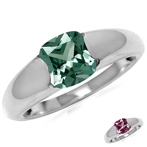 Silvershake 7mm Cushion Shape Simulated Color Change Alexandrite 925 Sterling Silver Solitaire Ring