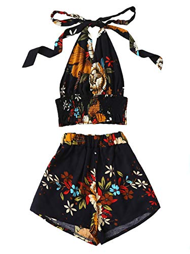 - SOLY HUX Women's Floral Print Halter Top with Shorts Black M