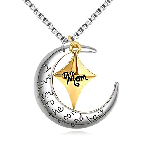 Power Wing Mom I Love You to The Moon and Back Pendant Necklaces,Moon&Star Shaped,Mother Birthday Gifts from Daughter Son,18