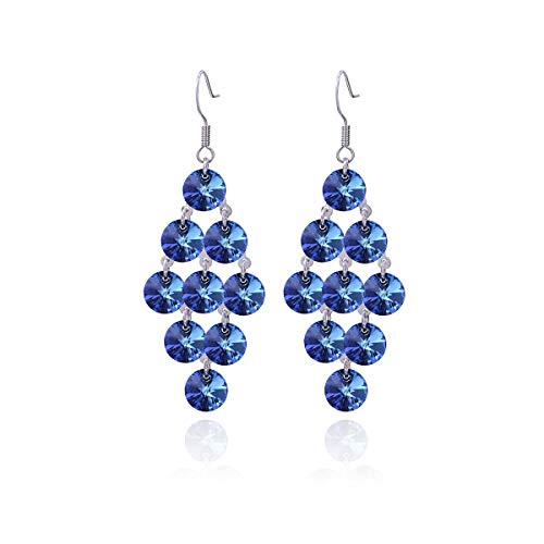 (Blue Crystal Earring Sterling Silver Bermuda Blue Swarovski Zirconia Chandelier Earrings for Women Big Long Statement Cubic Zircon CZ Cluster Filigree Dangle Drop Earrings for Wedding)