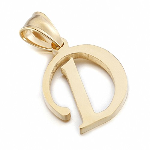 Kalapure 14K Gold Plated Stainless Steel Initial Pendant for Birthday Gifts - 26 Letters Alphabet Personalized Charms Pendant (D) (Charm 14k D Letter)