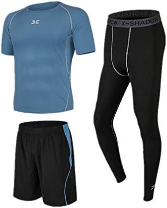 レディースジャージ上下セット 半袖ランニングショーツで1セットに付き3メンズランニングスーツを実行するための圧縮レギンス 吸汗 速乾 (Color : Blue black, Size : M)