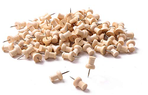 Tupalizy Wooden Push Pins Wood Thumb Map Tacks for Cork Boards and Home Office Craft Projects, Natural Color, 100 Pieces