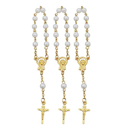 (24 Pcs Baptism Favors Mini Rosaries simulated pearl Beads with Gold Plated Accents - Recuerditos De Bautismo - Finger Rosaries - First Holy Communion - Wedding)