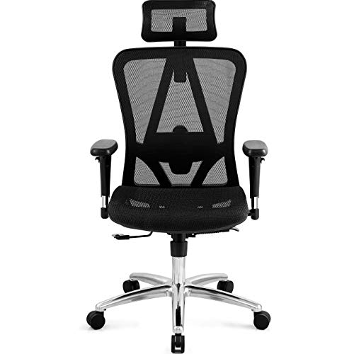 Ticova Ergonomic Office Chair with Adjustable 3D Armrest, Headrest and Lumbar Support - High Back Mesh Chair with Breathable Mesh Seat- Reclinable Computer Desk Chair