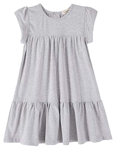 Youwon Toddler Girls Dress Short Sleeve Solid Color Tunic A-Line Tiered Swing Dress 2-6 7-16 Gray
