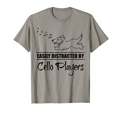 Running Dog Easily Distracted by Cello Players Fun Whimsical T-Shirt