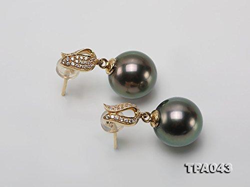 Jyx précieux Or 18K 11mm Noir Southsea de Tahiti Perles d'eau de mer Boucles d'oreilles