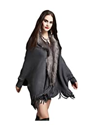 NiSeng Womens Soft Faux Fur Capes Tassel Decoration Knitted Fluffy Cardigant