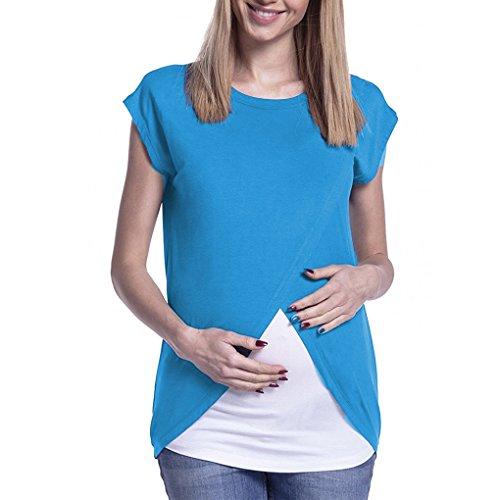 Mengonee Fruncido Lateral Fruncido Lactancia Materna Camiseta de Maternidad del Verano de la Blusa de Enfermería: Amazon.es: Ropa y accesorios