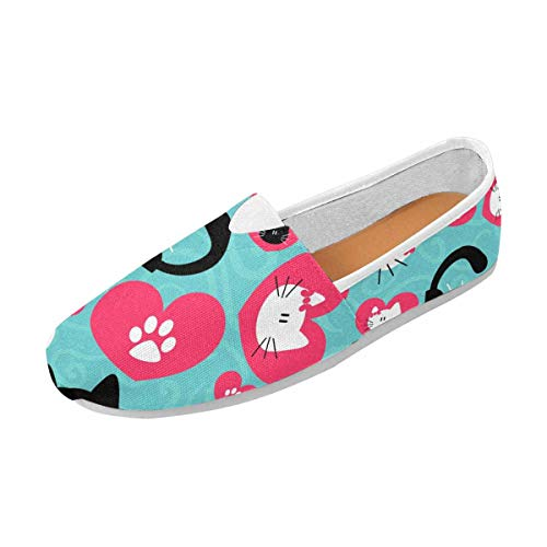 InterestPrint Women's Natural Comfort Walking Flat Loafers Romantic Cute Couple of Cats US13 by InterestPrint