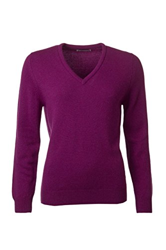 Great and British Knitwear Women's Lambswool Plain V Neck (Plain Lambswool)