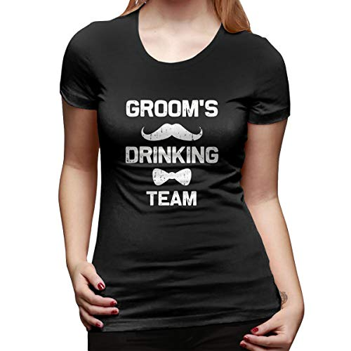 (Yishour Grooms Drinking Team Bachelor Party Women's V Neck Summer Casual Short Sleeve T Shirts Black)