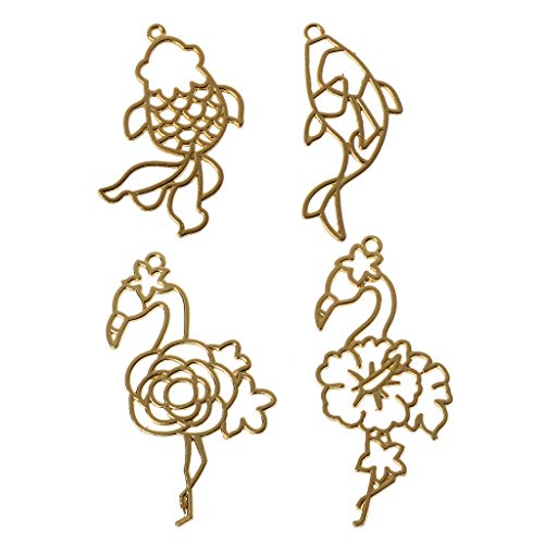 (EHOO Blank Frame Pendants Bezel Setting,4Pcs Goldfish Flamingos UV Resin Accessories Jewelry Necklace Pendant Supplies Gifts Crafts)