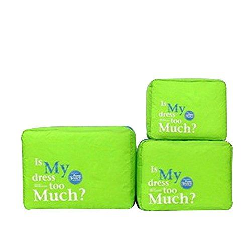 3pcs / set ordenado de malla de nylon de la cremallera portátil de viaje para el equipaje Bolsa de almacenamiento de ropa de la maleta del caso del organizador del bolso de la bolsa, gris Green