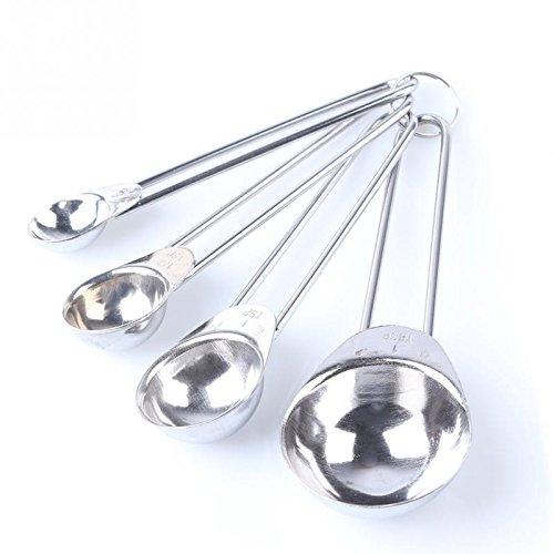 Lautechco 4 in 1 Set Stainless Steel Measuring Cups Spoons Baking Tool 1.25/2.5/5/15ml (4in 1 Spoon Measuring)