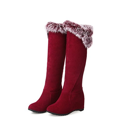 Red Closed Round Heels Pull Boots On Allhqfashion Solid Frosted Women's Kitten Toe nxXqEBP8