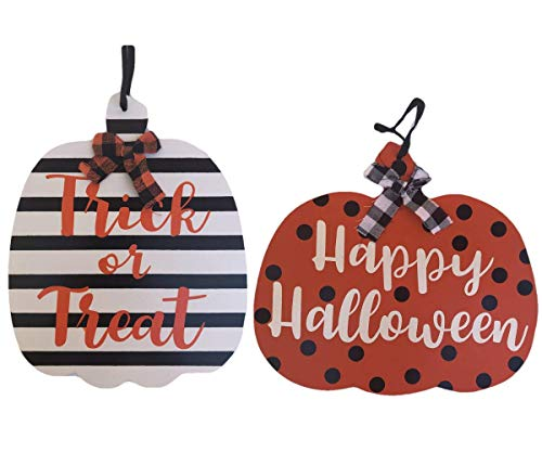 Diy Happy Halloween Sign (Halloween Crafty Pumpkin Welcome Signs -Happy Halloween & Trick or Treat - Indoor or Outdoor - Set of)