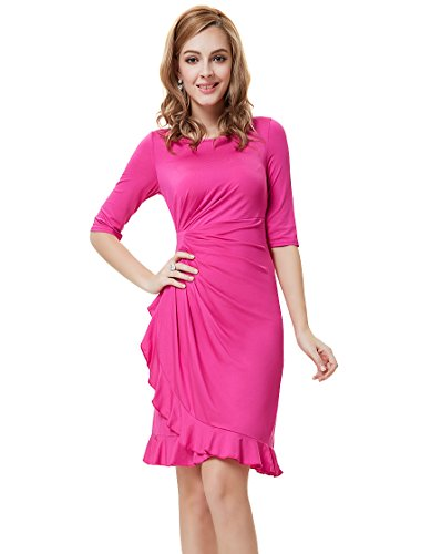 Ever Pretty Womens Half Sleeve Stretchy Semi Formal Dress 14 US Hot Pink