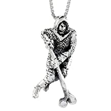 Sterling Silver Hockey Player Pendant, 1 1/2 inch tall