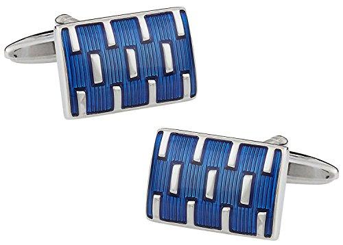 - Cuff-Daddy Unique Blue Enamel Rectangular Cufflinks with Presentation Box