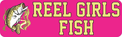 (StickerTalk 10in x 3in Bass Reel Girls Fish Bumper Magnet Magnetic Fishing Car Magnets)