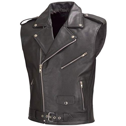 (WICKED STOCK Men Motorcycle Biker Leather Vest Classic Style Black V111 (M))