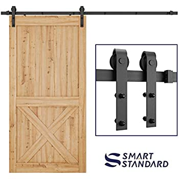 industrial by design 8ft sliding barn door hardware kit heavy duty 1 piece rail. Black Bedroom Furniture Sets. Home Design Ideas