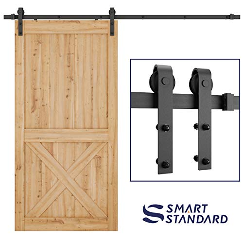 (SMARTSTANDARD 8 FT Heavy Duty Sturdy Sliding Barn Door Hardware Kit, Single Rail, Super Smoothly and Quietly, Simple and Easy to Install, Fit 42-48