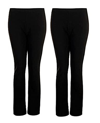 Ladies Finely Stretched Ribbed Bootleg Nursing Care Work 2 Pair Pack Trousers Womens Black Navy Short Regular Long