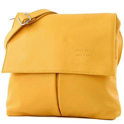 women's T63 Yellow messenger bag bag leather Italian bag real shoulder satchel Sun UqXpwwPxz