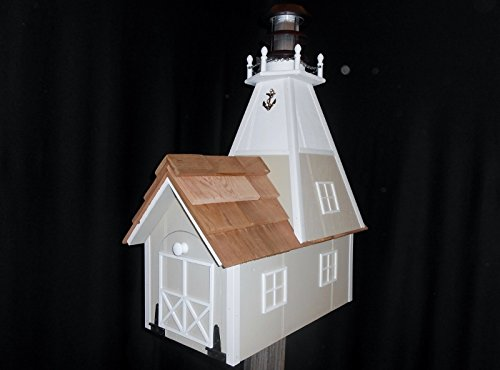 Amish Handmade Handcrafted Rural Mailbox Solar Lighthouse Almond & White