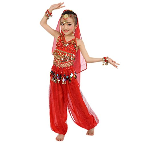 Precious Little Pirate Toddler And Girls Costumes (Elevin(TM)Children Girl Sleeveless Belly Dance Costumes Indian Dancewear Highlights Top Pants Outfit (S, Red))