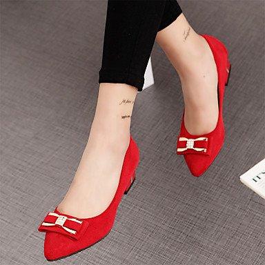 Otoño US5 Mujer el Tacones Negro bajo talón PU Confort EU36 Casual 5 5 Invierno CN35 otros Rojo gris UK3 OqBwx45wC