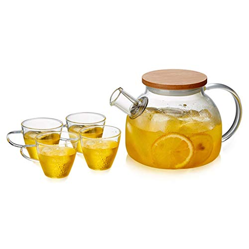 1000-1600ml Teapot Glass Large Capacity Household Tea Set Glass Teapot Flower Teapot Kettle with Bamboo Cover&tea Tray Set (Color : 5PCS, Size : -