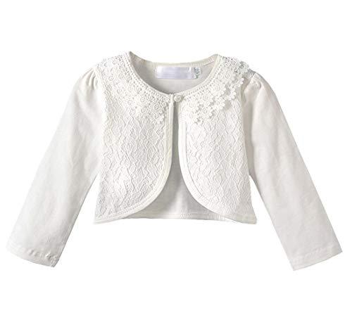 9df0b013cf Auranso Little Girls Knit Shrugs Long Short Sleeve Cotton Lace Bolero  Cardigan Shrug Sweater for